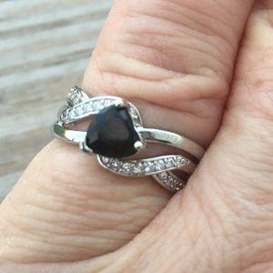 Jewelry - Black Sapphire Heart silver fashion ring